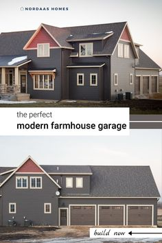 This perfect modern farmhouse style garage offers spare storage solutions for your vehicles, tools and more! Explore this custom garage, along with the entire home, designed and built by Nordaas Homes.