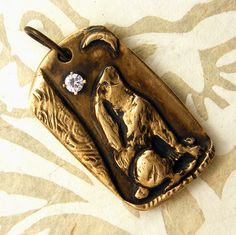 Moongazing Hare Pendant  Handcrafted Bronze by WildRavenStudio, $42.00