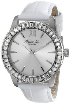 "Kenneth Cole New York Women's Classic"" Crystal-Accented Stainless Steel Watch With White Leather Band buy today at mariescrystals.com"