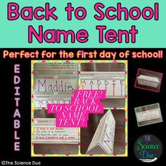 Back to School Ice Breaker.  This Back to School Name Tent activity is sure to help teachers and students learn about one another.  Use this activity the first day of school or sometime the first week.  This activity helps teachers learn names much more quickly!
