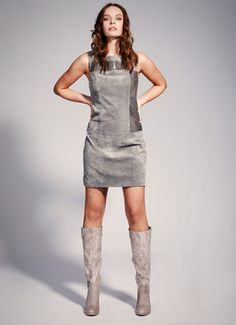 <3 leather and suede shift dress