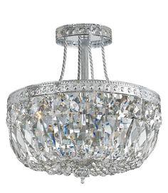 Crystorama 119-12-CH-CL-S 3-Lights Swarovski Elements Semi Flush Crystal Basket - Chrome