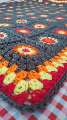 Granny Squares Grey Neon Crochet BLANKET Retro by Thesunroomuk