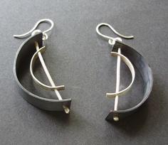 Petal and Copper Disk Earrings, Mixed Metal Earrings, Flower Petal Earrings, Artisan Handcrafted Earrings, Modern Jewelry - - Moon Jewelry, Jewelry Art, Jewelry Design, Bullet Jewelry, Geek Jewelry, Jewellery, Jewelry Armoire, Gothic Jewelry, Jewelry Necklaces