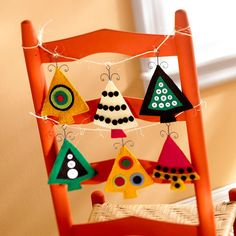 I love how this is traditional yet not traditional. Christmas tree shape with bright bold colors.
