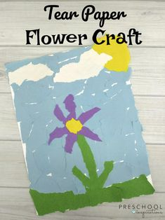 Easy Torn Paper Flowers for Kids to Make This Spring is part of Kids Crafts Flowers Learning - Torn paper flowers for kids to make! This paper flower craft is a fun process art activity and a great addition to your spring or plant unit this year Spring Art Projects, Easy Art Projects, Spring Crafts, Projects For Kids, Crafts For Kids, Craft Kids, March Crafts, Spring Activities, Art Activities