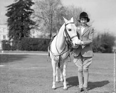 Princess Elizabeth with a pony in Windsor Great Park, Berkshire on April 21, 1939. (Photo by Central Press/Getty Images).
