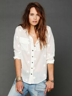 Free People Star Embroidered Buttondown, $0.00