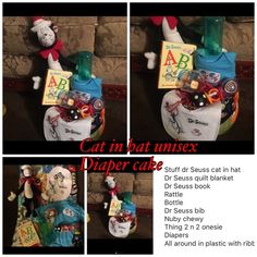 Cat in hat dr suess diaper cake unisex Will be wrap in plastic with ribbon Other