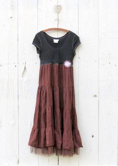 Boho Maxi Dress upcycled clothing women's size. You know, I have dresses from the '80's I could probably do this with.