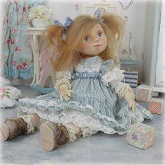 Купить Тоня .Авторская кукла - голубой, коллекционная кукла, розовый, кукла, шебби-шик
