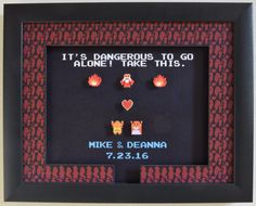 This shadow box features a customizable scene perfect for a wedding gift or engagement. Instead of a sword, our friendly cave-dweller has offered a heart container to Link and Zelda. You can include any message on the bottom with the actual font from the game, such as the names of a couple and their wedding or anniversary date.  The black background of the cave really makes the sprites pop out of this shadow box! Its the perfect gift for any nostalgic gaming couple.  INSTRUCTIONS:  Please…