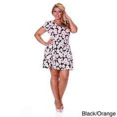 White Mark Women's Plus Size Daisy Print Plus Size Skater Dress