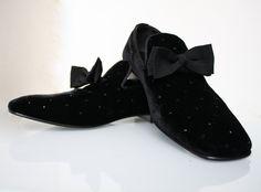 Yves Saint Laurent velvet loafers with grosgrain ribbon.