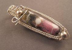 Sterling silver wrapped and woven etched glass cylinder bead pendant in white, pink and black by RaptFyre on Etsy
