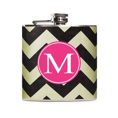 Personalized Flask for Women Black White by CameronsJewelryBox