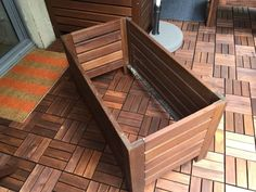 Rental friendly outdoor storage bench and wall panel Free Standing Wall, Stair Storage, Wood Screws, Wood Paneling, Outdoor Storage, Bench, Outdoor Furniture, Flooring, Woodworking Projects