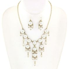 Gold and Cream Pearl Bubble Necklace Set