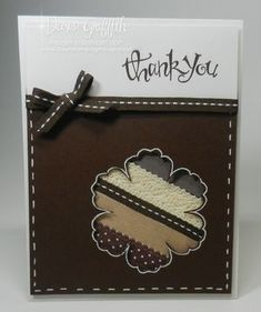 Early Espresso Thank you card with scrap ribbon.  I have this card, made by Dawn!