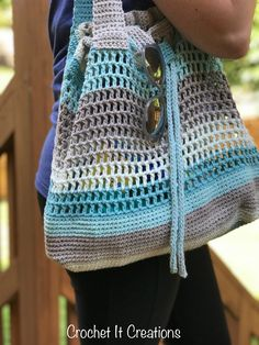 Carry All Drawstring Tote Free Crochet Pattern