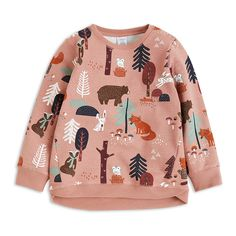 A soft sweatshirt in organic cotton blend with playful forest animals.