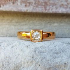 Antique 1883 Rose Cut Diamond Engagement Ring  Victorian Ring