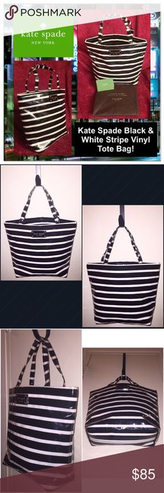 """Kate Spade Black & White Stripe Vinyl Tote Bag! Kate Spade Black & White Stripe Vinyl Tote Bag! Features: 100% Authentic, Kate Spade New York, vinyl body & handles, black/white stripe pattern, measures 12""""x10""""x4"""" with 5 1/2"""" hand clearance, black sateen lining, one int slip pockets & open top. Like New w/ tag & dustbag. Ret:$198. Offers welcomed! kate spade Bags Totes"""