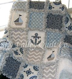 Baby boy Rag Quilt ~ blue and gray nautical sailboats | Baby, Nursery Bedding, Quilts & Coverlets | eBay!
