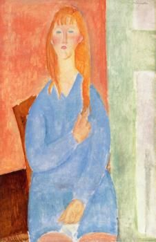 Seated Girl, Untied Hair (also known as Girl in Blue) Amedeo Modigliani (1919) Private collection Painting - oil on canvas