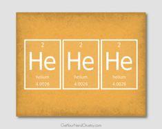 He He He Nerd Poster, Science Humor Print, Gifts for Scientists, Funny Nerd Art