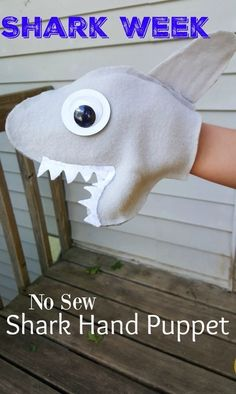 Shark Week NO SEW Shark Hand Puppet - SO SO cute and easy enough for the kids to make as a craft! Perfect for the Discovery Channel Shark week adventures we create at home!