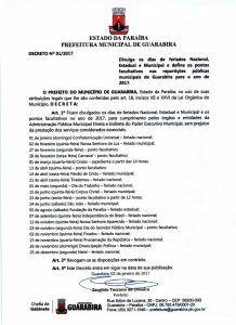 Confira a lista de feriados e pontos facultativos de 2017 | Prefeitura de Guarabira