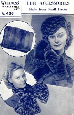 SEWING INSTRUCTIONS WELDONS 436 1940s MAKE FAKE FUR ACCESSORIES MUFF HAT MITTS   eBay