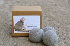 set of 3 pure wool organic dryer balls for laundry.. $18.00, via Etsy.