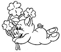 gluecksschwein mit hufeisen als ausmalbild | ausmalbilder