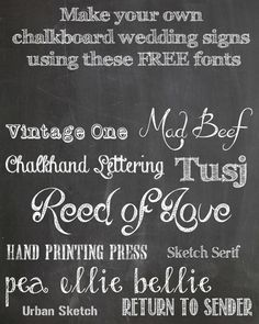 FREE Chalkboard Fonts For Wedding Signs – Printable Wedding Signs from @theweddingomd www.theweddingofmydreams.co.uk