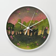 The Woods I Pink Wall Clock A mystical forest during a pink sunset. Original size: 13×13cm. Watercolor painting from my series: Trees & Forests © Marina Kanavaki https://society6.com/product/the-woods-i-pink_wall-clock#s6-1275003p33a33v283a34v285
