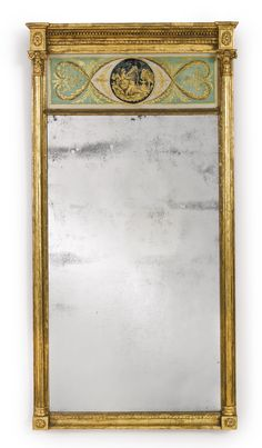 Classical Giltwood and Eglomise paneled looking glass, 1815