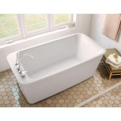 MAAX Lounge 5.3 ft. Freestanding Reversible Drain Bathtub in White-105798-000-001-100 - The Home Depot