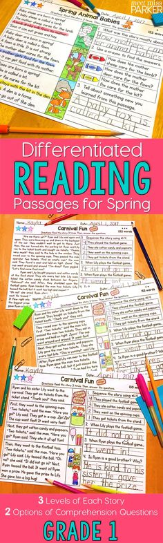 Grade 1 differentiated reading passages for spring. Use the comprehension stories for guided reading, homework, interventions, literacy centers, and more! Fiction and nonfiction passages included!