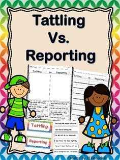 Do you have students that continually tattle? This product will get them thinking about the difference between tattling and reporting. Students will sort scenarios on a pocket chart activity or  cut and paste worksheets. They can write their own examples of tattling and reporting.
