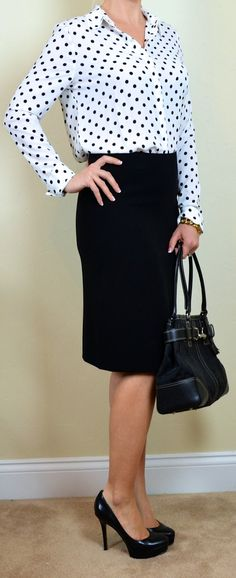 Outfit Posts: outfit post: polka-dot blouse, black pencil skirt