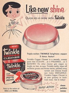 She's too cute for words! :) #vintage #illustration #1950s #ad #cleaning #homemaker