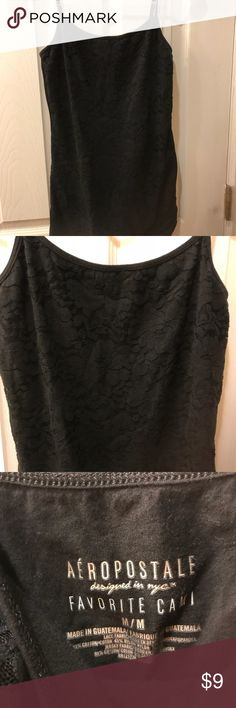Aeropostale floral lace cami Black floral lace cami in excellent condition.  No shelf bra but lined so is not to be see through.  Does have some stretch to it.  I have the same camis in burgundy and teal in my closet- bundle and save! 😊 Aeropostale Tops Camisoles
