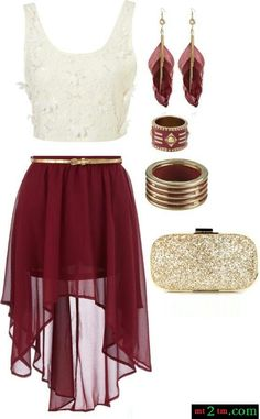 Maroon and white outfit.