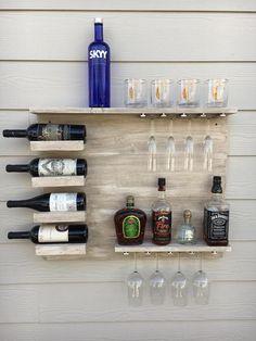 New Ways To Display Home Bar Items - Liquor Shelf Trend Caffe Bar, Wine Rack Design, Bar Shelves, Glass Shelves, Liquor Shelves, Wall Bar Shelf, Home Bar Decor, Home Bar Designs, Wine Rack Wall