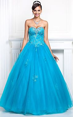 Ball Gown Sweetheart Floor-length Tulle And Lace Evening Dress