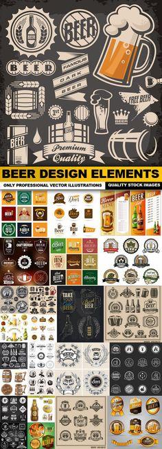 Beer Design Elements - 25 Vector
