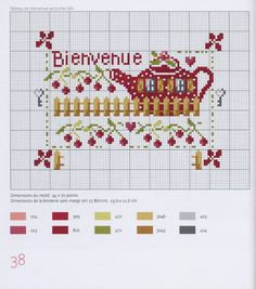 A teapot shaped house, love it! Cross Stitch House, Cross Stitch Kitchen, Mini Cross Stitch, Cross Stitch Charts, Cross Stitch Patterns, Cross Stitch Tutorial, Easter Cross, Vintage Cross Stitches, Cross Stitching