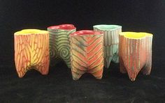 MICAH SHERRILL: Moonshine Cups  Porcelain    4-1/2 x 3 x 3 in